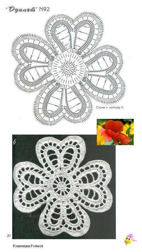 Another lace flower with diagram rose crochet pattern ...