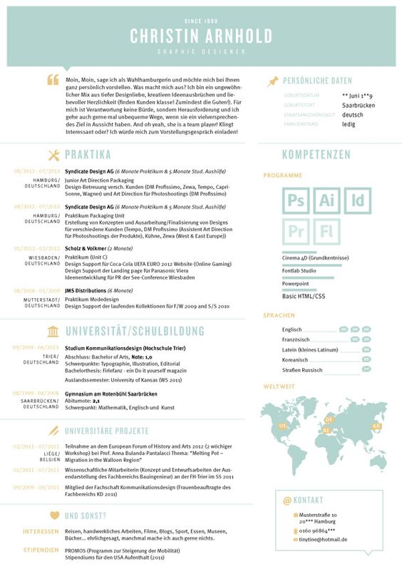 creative CV Curriculum vitea Lebenslauf graphic design portfolio - resume ats