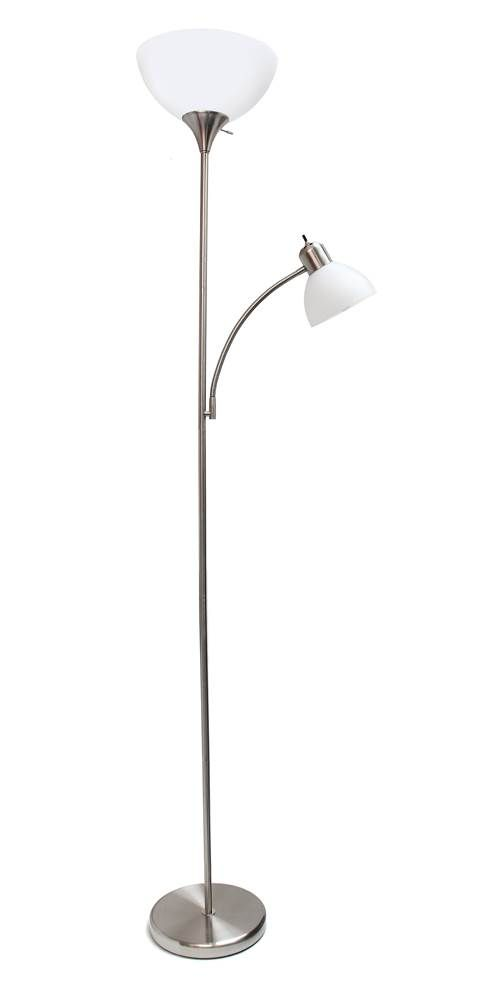 Floor Lamp With Reading Light In Brushed Nickel Id 3689459
