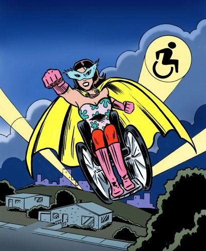 Super Wonder Cripster Woman - New Mobility. >>> See it. Believe it. Do it. Watch thousands of spinal cord injury videos at SPINALpedia.com