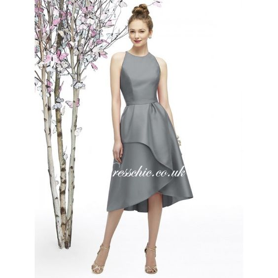 Gray formal hi low skirt 2015 pewter silver grey tea for Silver tea length wedding dresses