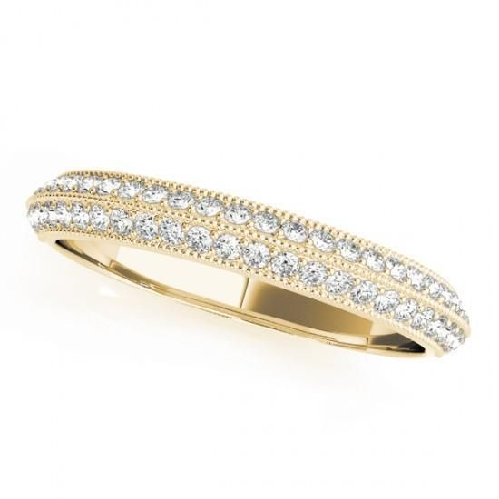 NEW LADIES 14k YELLOW GOLD DIAMOND PAVE SET TWO ROW WEDDING BAND RING…