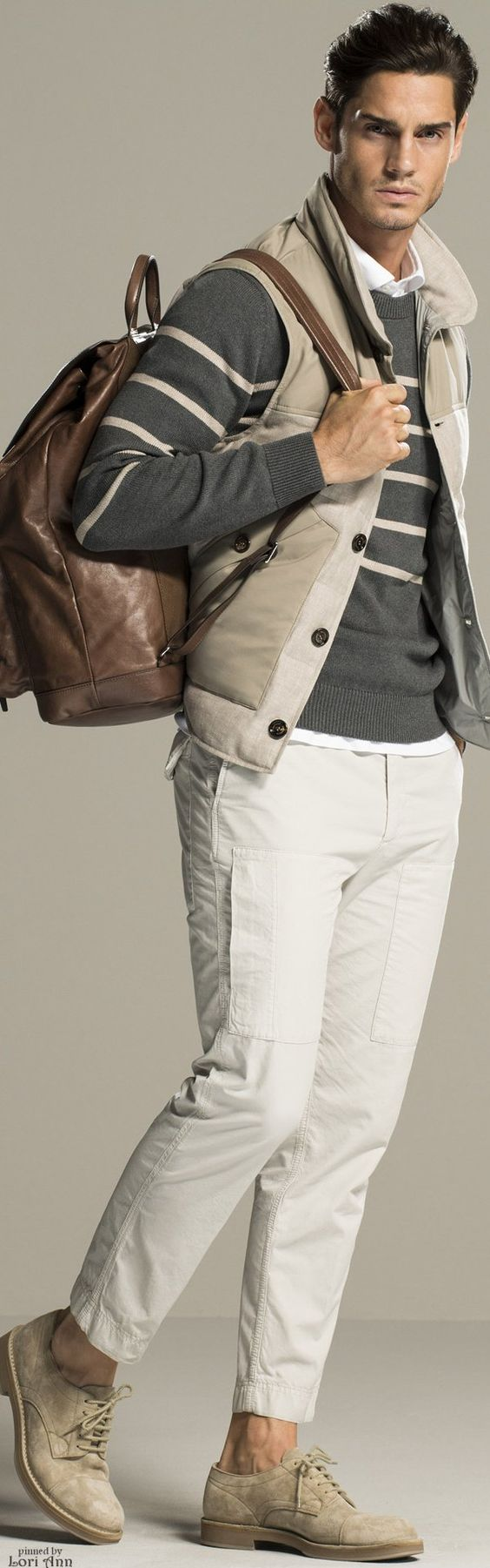 Divine Style men's transition spring outfit, sweater, vest, white pants