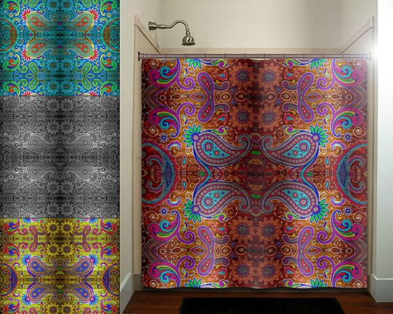 Paisley Gypsy Hippie Tapestry Boho Bohemian Shower Curtain