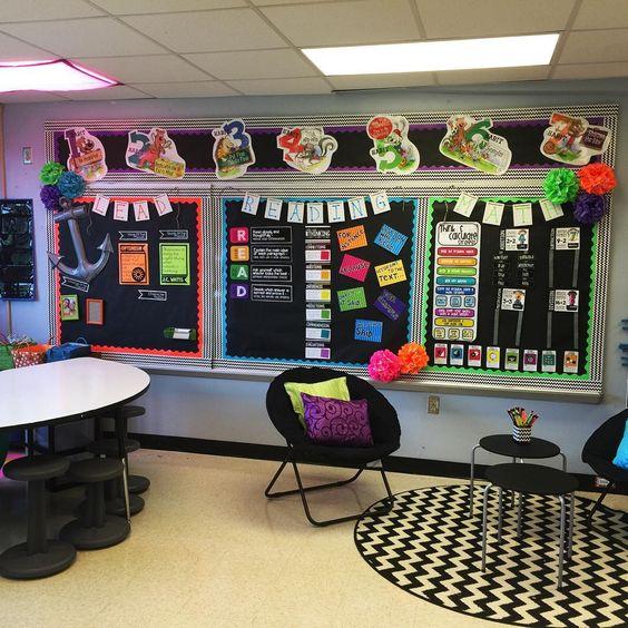 Modern Classroom Display ~ Brights and black classroom photos pinterest
