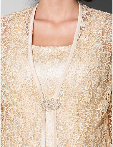 Sheath/Column Scoop Tea-length Lace Mother of the Bride Dress With A Wrap (2050332) – EUR € 159.99