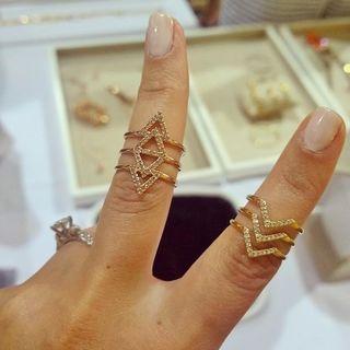 Geometric Unique & Thin Gold Ring Band   Pave Chevron Ring   Stella & Dot