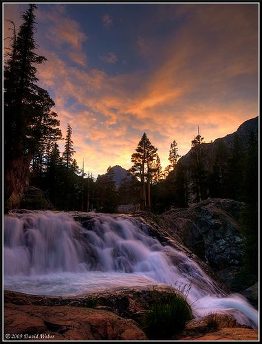 A serenely majestic waterfall shot captured at Mt. Banner in California.