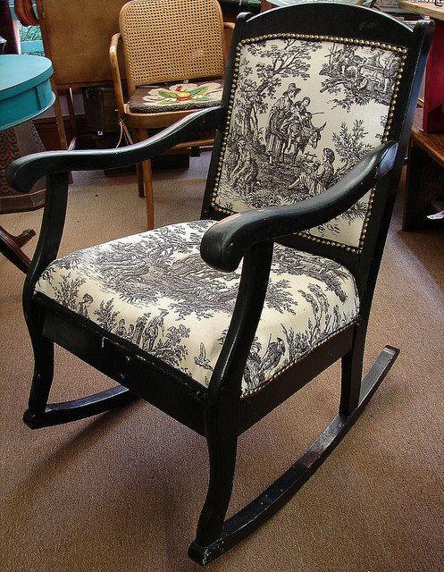 Vintage Black Toile Rocker · Black Rocking ChairRocking ... - Vintage Black Toile Rocker Rocking Chair Pinterest Rockers