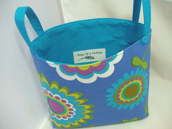 Fabric Storage Bin Tote or Organizer in Dancing by BagsOfaFeather, $23.00