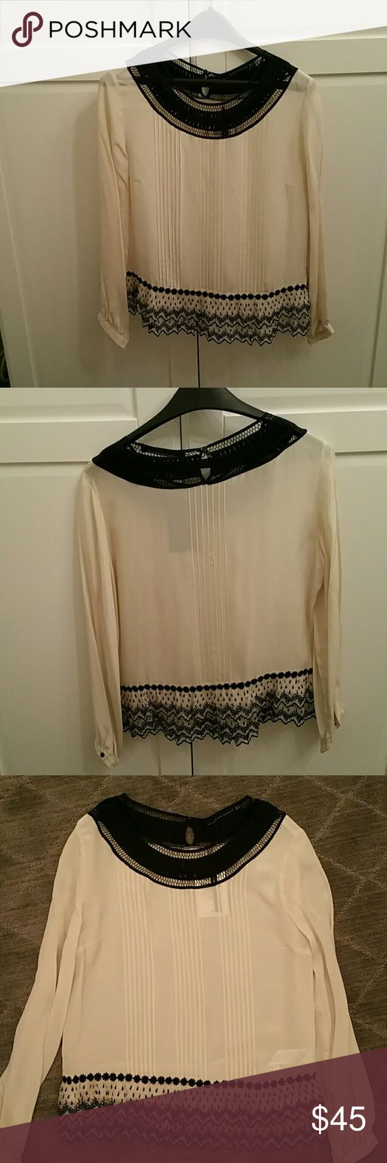 Zara ivory and black lace trim silk blouse Brand new silk blouse with a romantic lace trim and detailed neck line Zara Tops Blouses