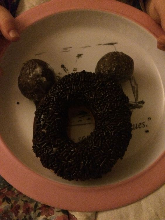 Mickey donut chocolate frosted sprinkled and munchkins