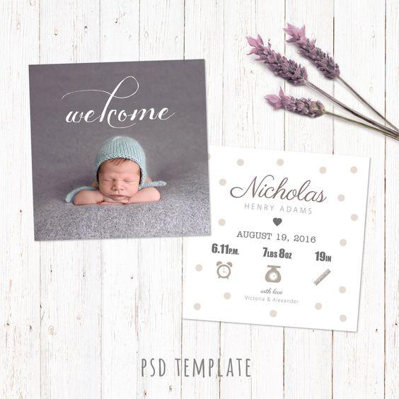 Birth announcement template card Digital baby birth card Fully – Birth Card Announcement