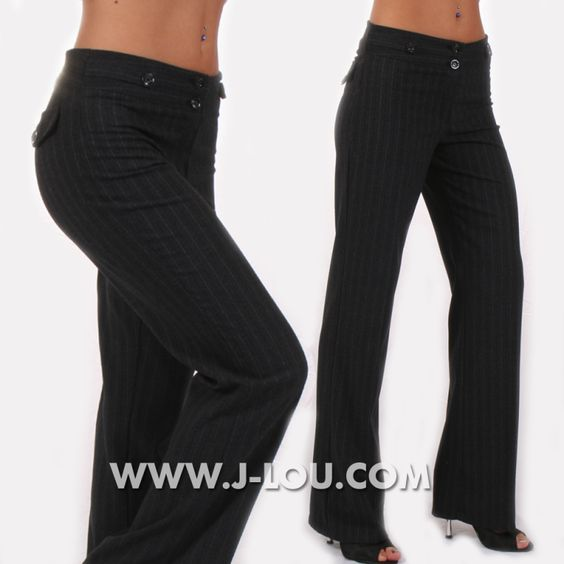 5177 Sexy Ladies Smart Classic Black Pinstripe Tailored Trousers