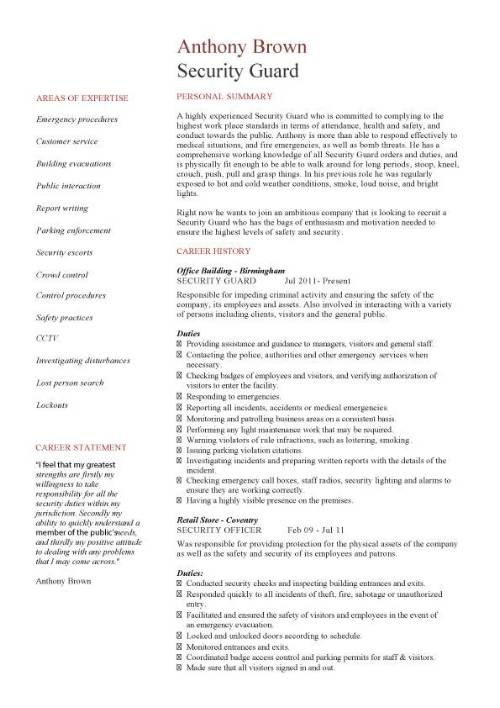 Security Guard Cv Sample Security Resume Security Officer Resume Examples