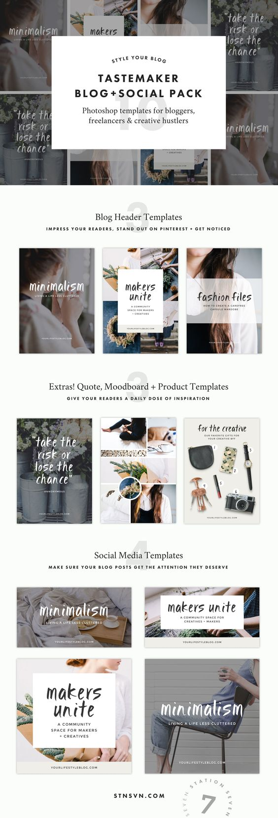Tastemaker's Blog + Social Graphic Pack. Say goodbye to quiet social media accounts and hello to gorgeous, minimalist graphics that hook your readers. Create the perfect templates for your Pinterest, Instagram, and social headers and images.