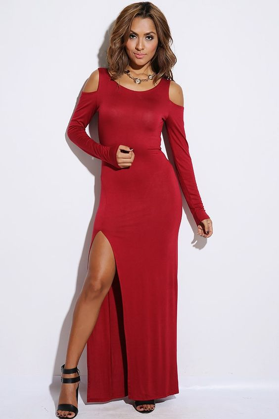 #1015store.com #fashion #style burgundy red cold shoulder high slit evening party maxi dress-$25.00
