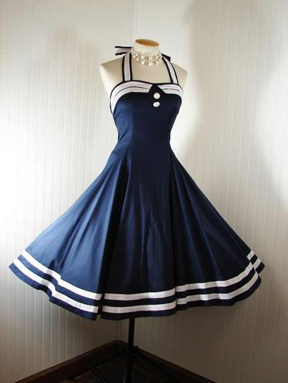 Vintage 50s NAVY SAILOR NAUTICAL Halter Dress