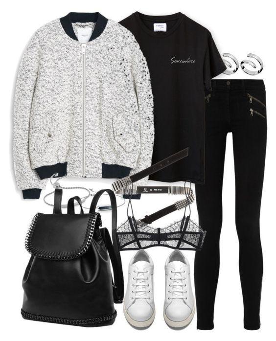 """""""Untitled #7778"""" by nikka-phillips ❤ liked on Polyvore featuring rag & bone/JEAN, Calvin Klein, MANGO, McQ by Alexander McQueen, Maison Close, Monica Vinader and Acne Studios"""