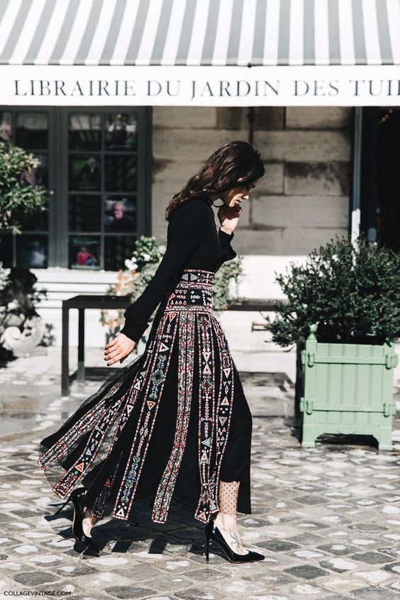 Valentino maxi skirt - Paris Fashion Week Spring-Summer 2016 #PFW #StreetStyle: