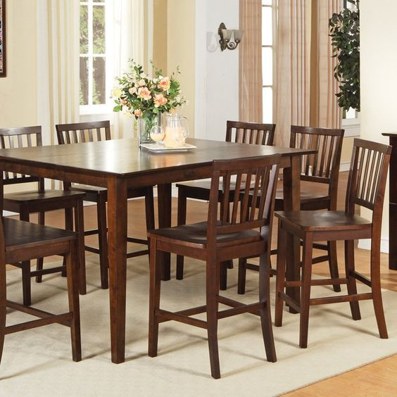 steve silver branson 9 piece counter height dining table set high top tables. Black Bedroom Furniture Sets. Home Design Ideas