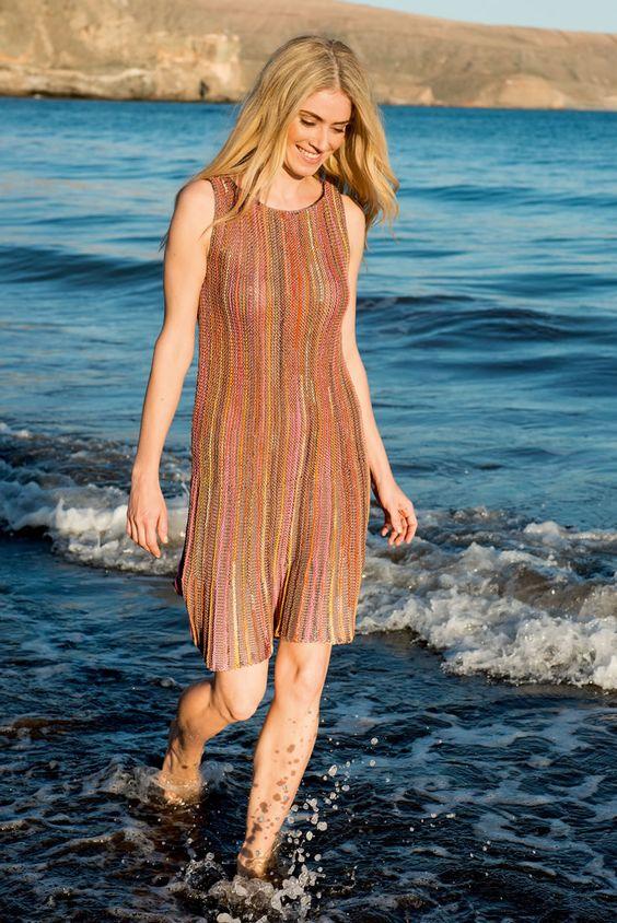 Lana Grossa MINIKLEID QUERGESTRICKT IN STREIFEN Allegro Print/Allegro - FILATI No. 49 (Frühjahr/Sommer 2015) - Modell 46 | FILATI.cc WebShop
