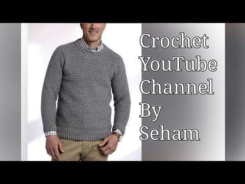 كروشيه بلوفر رجالي مع شرح جميع المقاسات Men S Crochet Pullover With All Sizes قناة كروشية يوتيوب Youtube Long Sleeve Tshirt Men Men Sweater Mens Tshirts