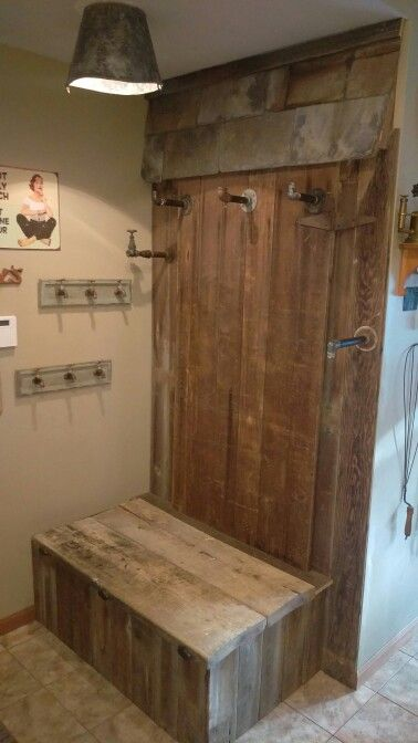 Barn door, slate shingles mud room design