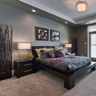 i love the grey with the purple and green accents lets make a wish pinterest platform bed. Black Bedroom Furniture Sets. Home Design Ideas
