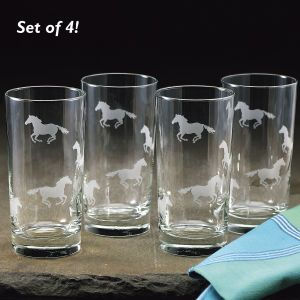 Gallop Tumbler Glass Set of 4 - Western Wear, Equestrian Inspired Clothing, Jewelry, Home Décor, Gifts