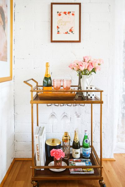 "This Parisian inspired bar cart from Style Me Pretty is sure to have your guests saying ""Santé!"":"