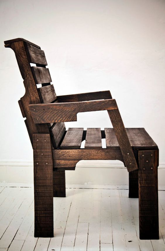 Pallet Captain's Chair made from old shipping pallets; Clarke Titus