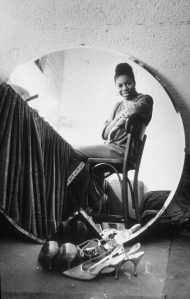 Nina Simone in her dressing room at the Village Gate in Manhattan before a live recording session in March 1965. Photo by Sam Falk
