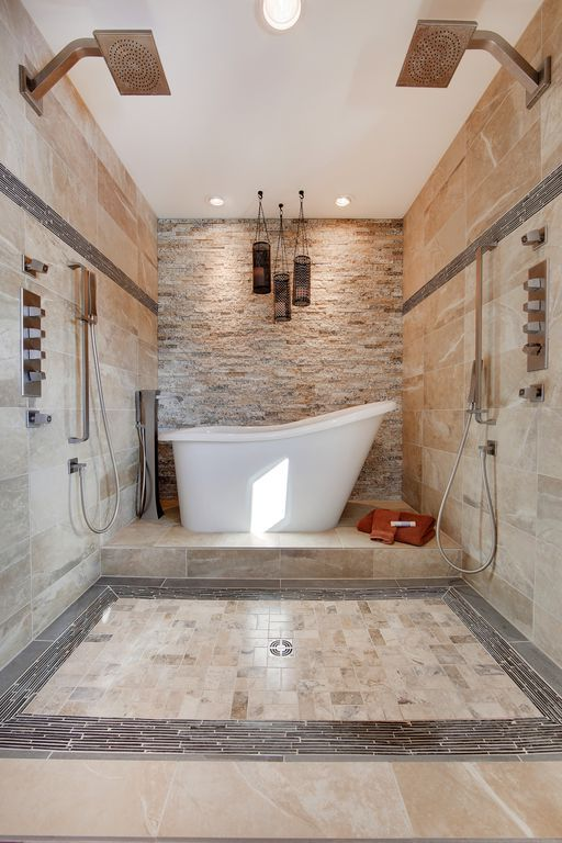 Master Bathroom With Rain Shower Head High Ceiling Freestanding