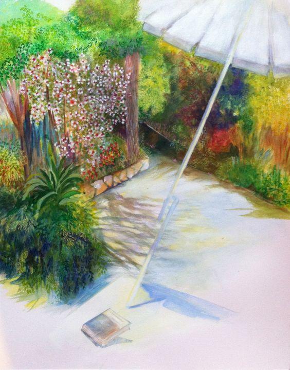 """Paysage jardin peinture aquarelle@Lumeline-BLL Défi avril 2015 """" Naissance d'un petit bonheur"""" : Peintures par lumeline-bll"""