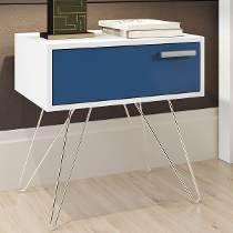 Criado-mudo Isadora Design Branco/azul