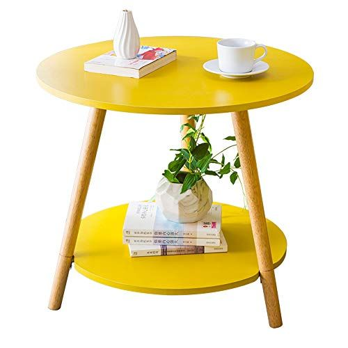 Xbbz Solid Wood Yellow Round Table Sofa Side Table Nordic Solid Wood Coffee Table Bedside Table Size Sofa Side Table Small Coffee Table Modern Coffee Tables