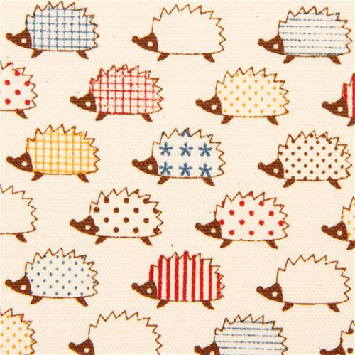 cute hedgehog animal oxford fabric by Kokka from Japan: