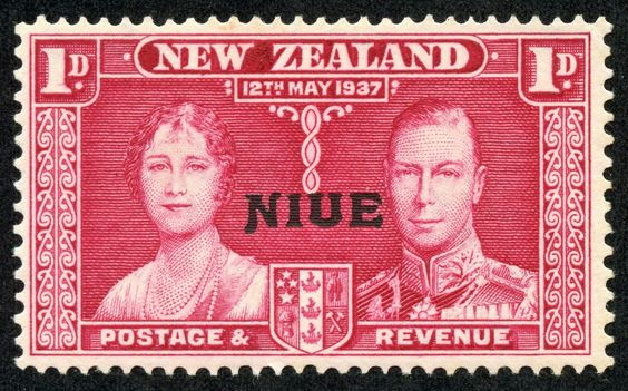 """Niue –  1937 Scott 70 1p rose carmine """"Coronation Issue"""" New Zealand Stamps of 1937, Overprinted"""