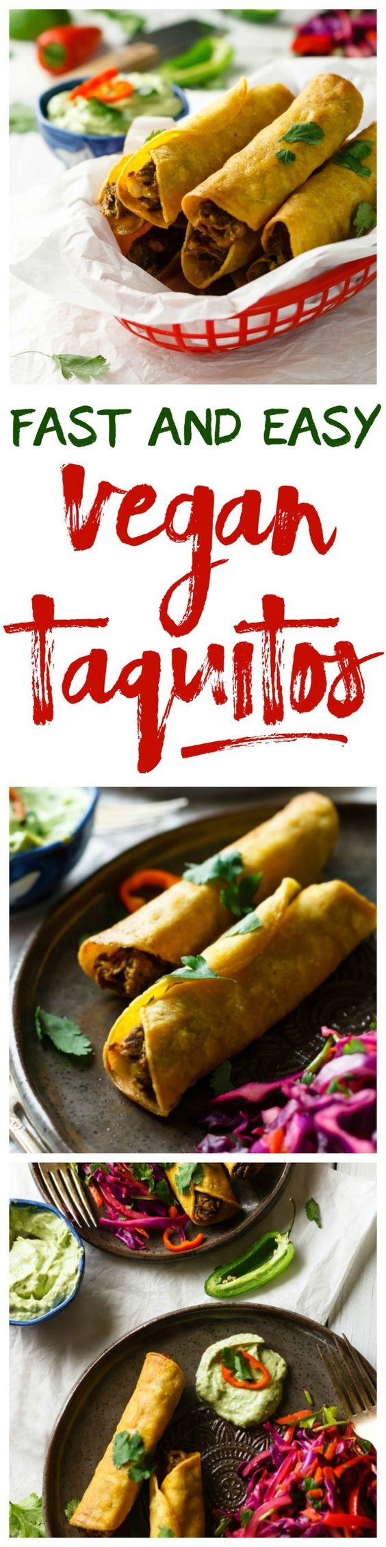 Easy Vegan Taquitos with Avocado Mayo and Mexican Slaw