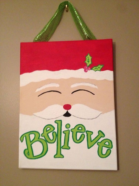 believe in santa christmas canvas deco mesh awesome and cute canvas. Black Bedroom Furniture Sets. Home Design Ideas