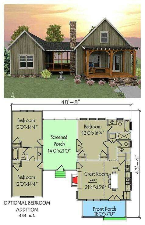 Open floor plan with screened porch mountain home for Small pond house plans