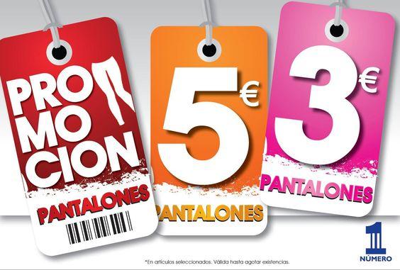 NÚMERO 1  ¡¡¡PANTALONES a 3€ y 5€ !!!   Primavera con color y estampados… ¡¡¡Las mejores marcas a los mejores precios!!!