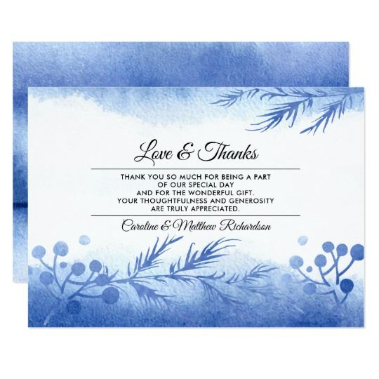 Blue Winter Forest Thank You Wedding Flat Cards Zazzle Com Wedding Cards Winter Wedding Invitations Gifts For Wedding Party