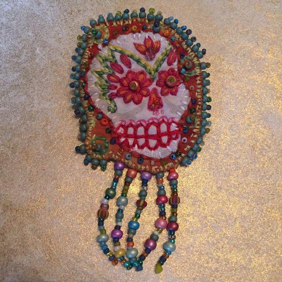 Colorful Sugar Skull Brooch Hand Embroidered by creativecaravan