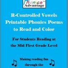 Phonics Advantage R-Controlled Vowels Printable Phonics Poems is my most popular set of first-grade poems.  Included in the digital download are 13...