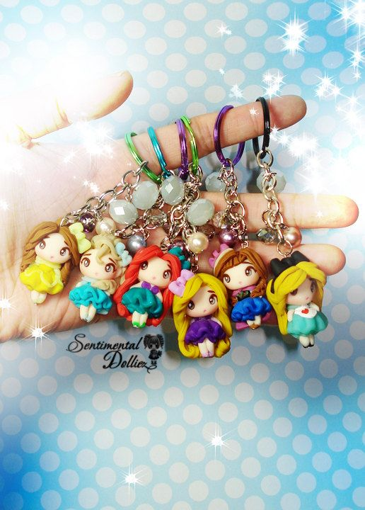 Disney Princess; Frozen, Elsa, Anna, Rapunzel, Ariel, Alice in Wonderland, $25, Disney character pendant is approximately 3 cm tall, semi flat back complete keychain is around 9 cm long in length