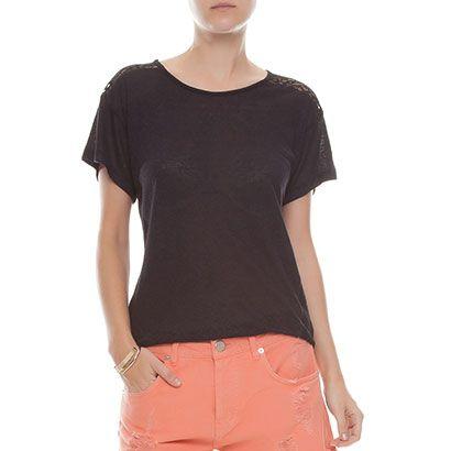 T-shirt renda assimétrica - preta - OQVestir