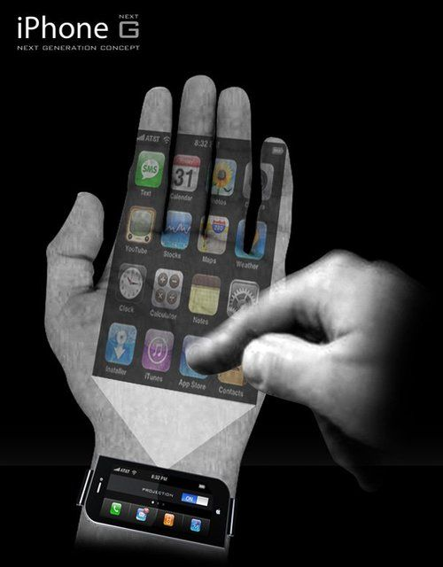 Iphone concept wrist projector phone iphone concept for Apple iphone projector