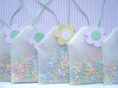 tea~bag~shaped candy bags...charming!